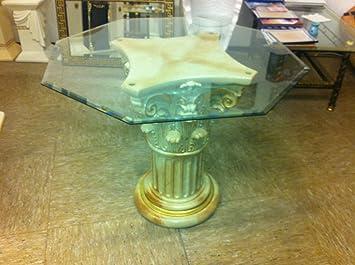 Glastisch Couchtisch Marmoriert Barock Säulen Wohntisch aus Stuckgips