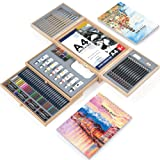 85 Piece Deluxe Art Set in Wooden Case,Painting & Drawing Kit,Professional Art Supplies for Painting and Drawing,with 3 x 50 Page Drawing Pad for Kids, Teens and Adults (Color: 85 piece)