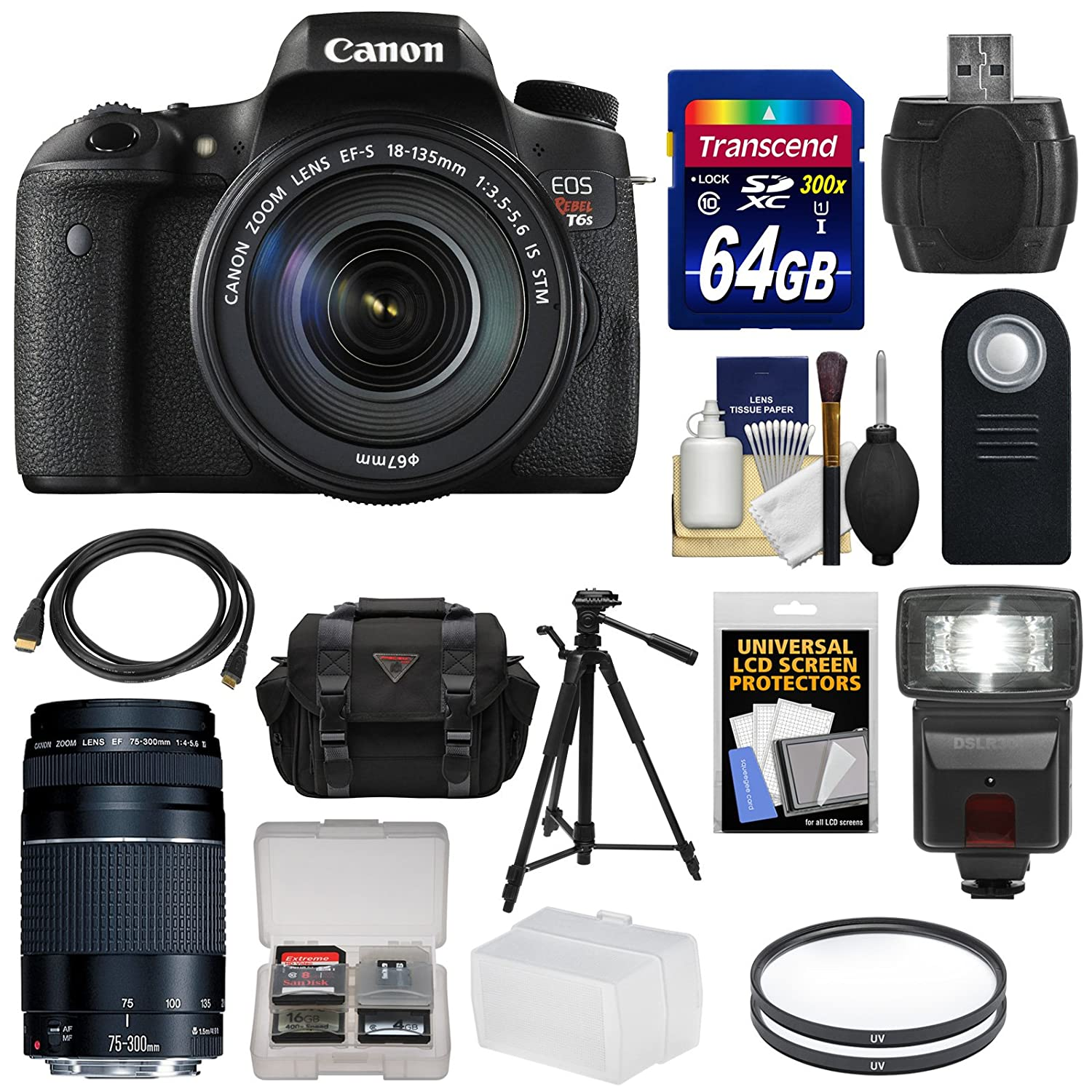 Canon EOS Rebel T6s Wi-Fi Digital SLR Camera & EF-S 18-135mm IS STM & 75-300mm III Lens with 64GB Card + Case + Filters + Tripod + Flash + Kit