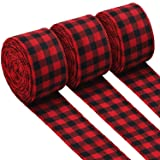 3 Rolls Red and Black Buffalo Plaid Ribbon Christmas Wired Edge Ribbon Check Burlap Ribbon for Gift Wrapping, Crafts Decoration (2.4 by 315 Inches) (Tamaño: 2.4 by 315 Inches)