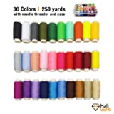Sewing Thread in 30 Assorted Colors with Needle Threader - 250 Yards Polyester All Purpose Sew Thread Kit for Hand and Machine Sewing by HallGEMs (Tamaño: 250 Yard)