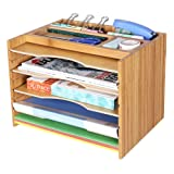 SONGMICS Bamboo File Organizer Paper Sorter with 5 Adjustable Shelves Top Storage Compartments Natural UOFS44Y (Color: Natural)