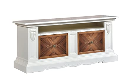 Base credenza / Porta TV in legno finitura avorio e noce grano, con 2 cassetti intarsiati e vano a giorno 170x78