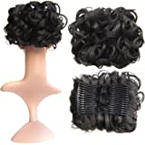 SWACC Short Messy Curly Dish Hair Bun Extension Easy Stretch hair Combs Clip in Ponytail Extension Scrunchie Chignon Tray Ponytail Hairpieces (Natural Color Close to Black-2#)
