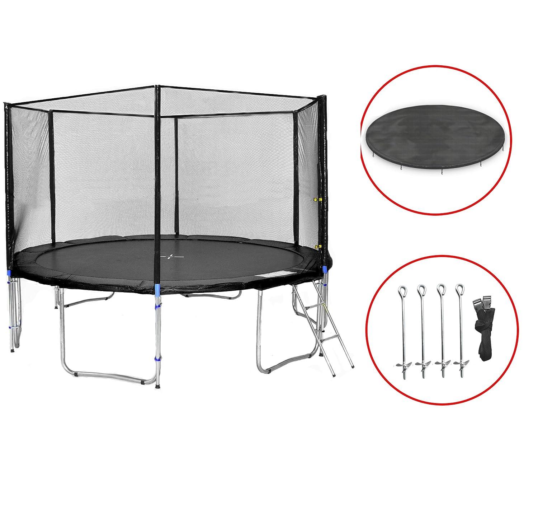 SB-400-S Gartentrampolin 400cm incl. Netz, Leiter, Wetterplane & Bodenanker, 180kg Traglast bestellen