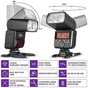 Camera Flash for Canon by Altura Photo - AP-305C 2.4GHz E-TTL Speedlite for DSLR and Mirrorless (Tamaño: NEW AP-305C Flash)