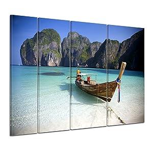 Bilderdepot24 Keilrahmenbild Maya Bay, Koh Phi Phi Ley  Thailand  180x120 cm 4 teilig  fertig gerahmt, direkt vom Hersteller   Kundenbewertung und Beschreibung