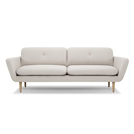 Scandinavian Design, Ida canapé 3 places, tissu beige, 221 x 92 x 82 cm