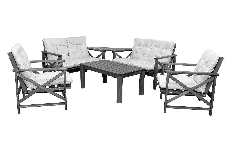 6tlg. Sitzgruppe Loungegruppe OSLO taupe grau braun inkl. Auflagen Sofa Sessel und Coffeetable günstig online kaufen