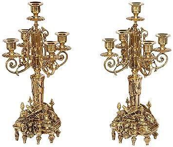 Virtus Cervantes - Pareja de candelabros fabricados en bronce, 42 x 17 cm
