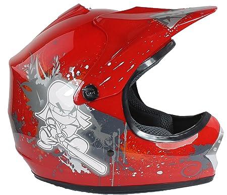 Casque de moto-cross - quad/tout-terrain/BMX - enfant - Rouge - S (53-54 cm)