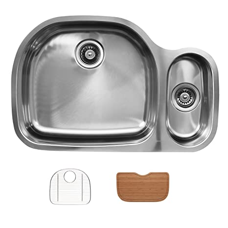 Ukinox D537.80.20.10L.GC Modern Undermount Single Bowl Stainless Steel Kitchen Sink with Bottom Grid & Cutting Board
