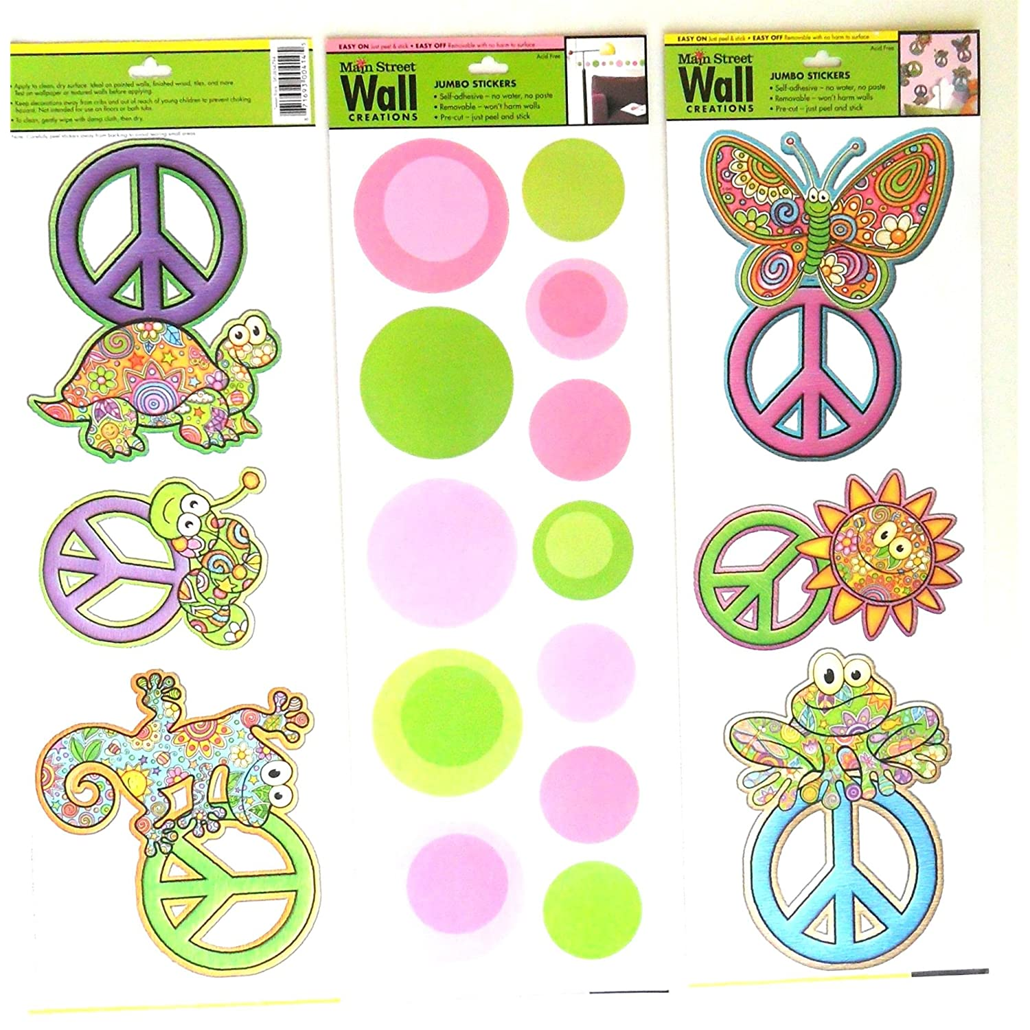Wall Stickers for Kids or Adults Art Applique Set of 3 Colorful Peace Signs