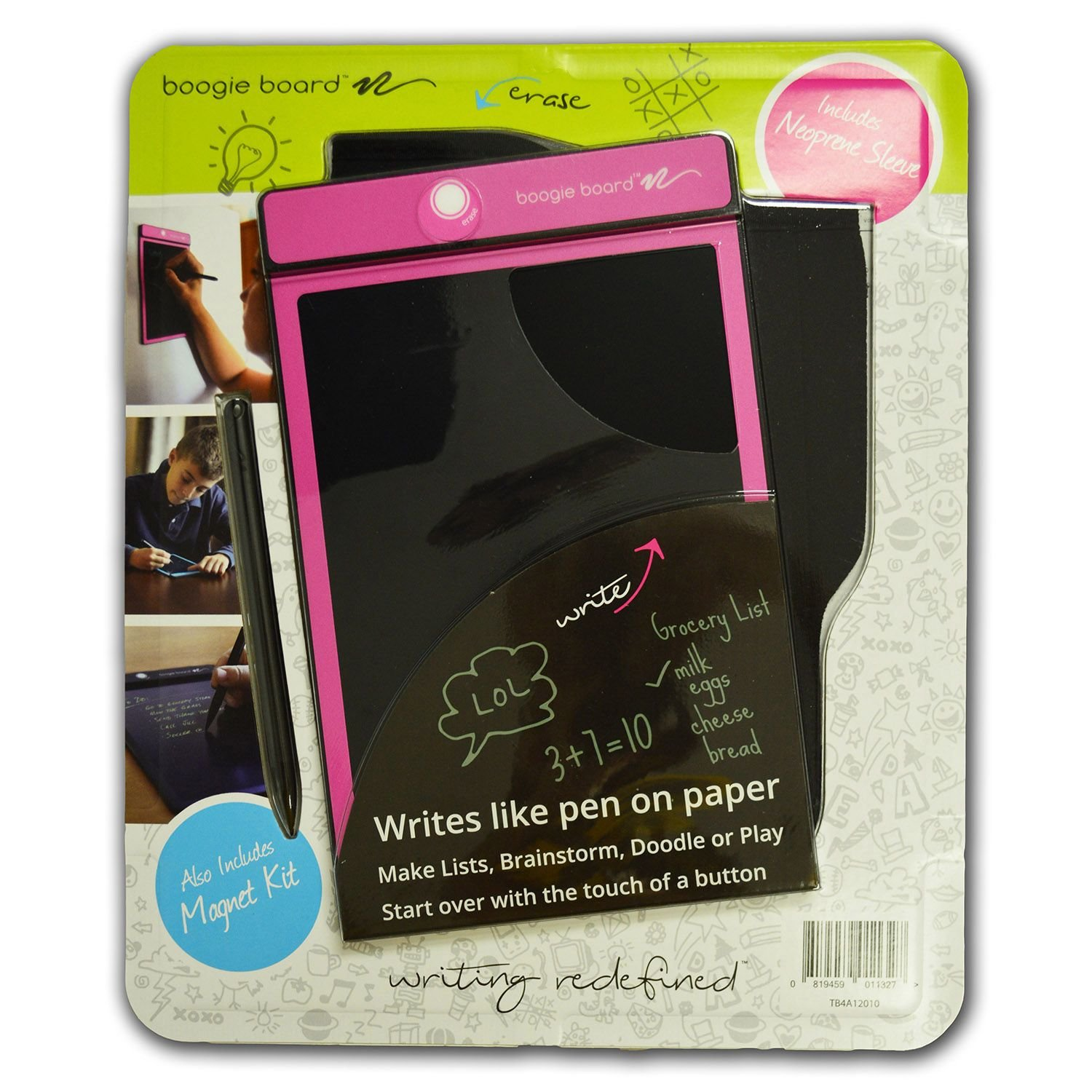 "Boogie Board E-Writer 8.5"" Paperless Memo Pad Tablet Pink with Neoprene Sleeve + Stylus"