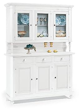 Cristalliera a 3 porte in legno finitura laccato bianco opaco