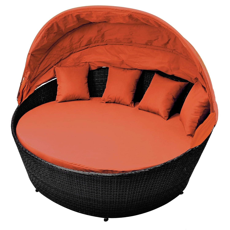 Sonneninsel orange Rattan-Bett mit aufklappbarem Sonnendach inkl. Auflagen und Kissen Sonnenliege Gartenbett Rattan-Lounge zum Relaxen mit Aluminiumgestänge inkl. Schutzhülle