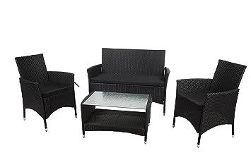 Plazas de jardín 4 negro muebles de ratán acolchada diseño cilíndrico juego de mimbre de invernadero