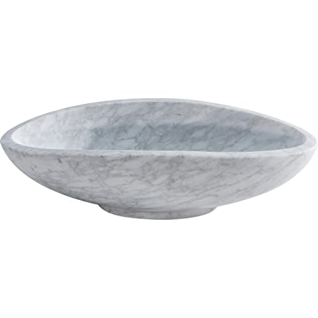 "Y Decor STONI Carrara Marble Vessel Sink, White/Off White/Grey, 18.5"" L x 9"" W x 4.5"" D"