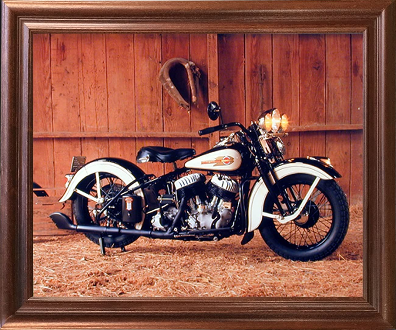 Vintage Flathead Harley Davidson Motorcycle Wall Decor Mahogany Framed Picture Art Print (18x22) 0