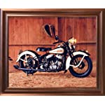 Vintage Flathead Harley Davidson Motorcycle Wall Decor Mahogany Framed Picture Art Print (18x22)
