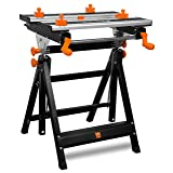 WEN WB2322 24-Inch Height Adjustable Tilting Steel Portable Work Bench and Vise with 8 Sliding Clamps