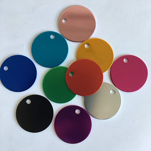 Colorful Round Anodized Aluminum Stamping Blanks Discs 25mm (Pack of 10) (Color Mix) (Color: Color Mix, Tamaño: 25MM)