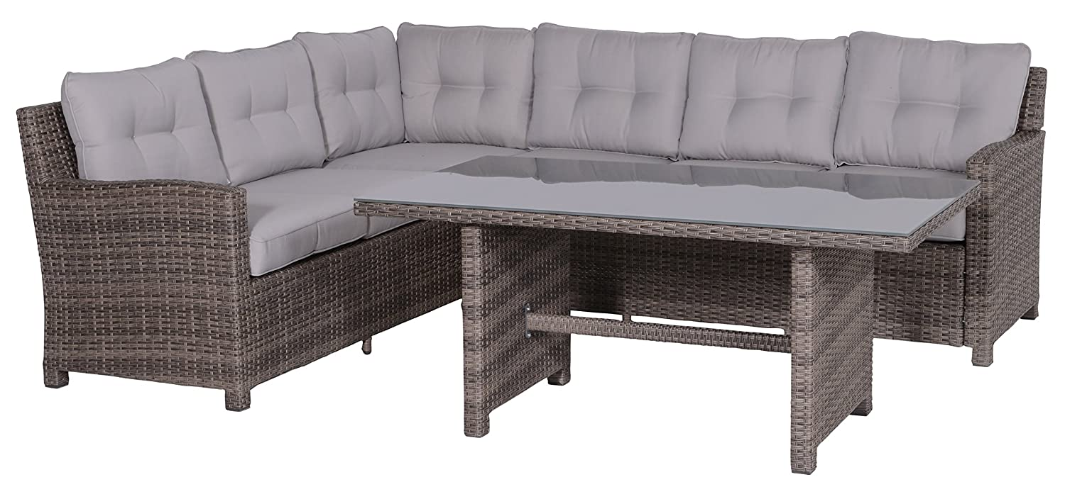 Garden Impressions 05881SO Lounge/Dinner Set, La Paz neu, 203 x 250 x 85 cm, Braun