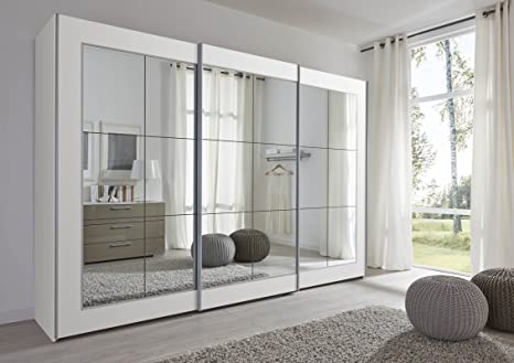 Schlafzimmer Lattice: White Sliding Door Wardrobe with Mirror - 202cm or 301cm Wide - German Made Sliding Wardrobe (301cm Wide)