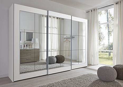 Schlafzimmer Lattice: White Sliding Door Wardrobe with Mirror - 202cm or 301cm Wide - German Made Sliding Wardrobe (301cm Wide)