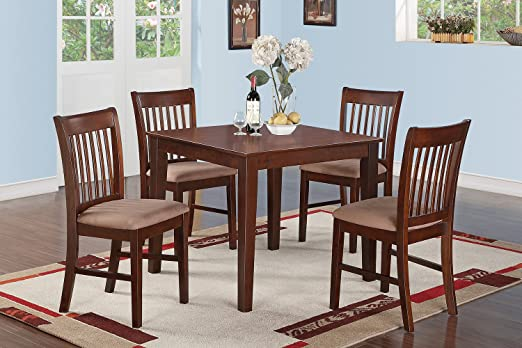 East West Furniture OXNO5-MAH-C 5-Piece Kitchen Table Set, Mahogany Finish