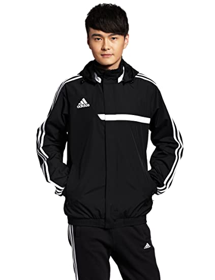 Adidas Homme Vestes de sport Mens Rain Jacket TIRO13 All Weather Windbreaker Full Zip 3 Stripe Rain Coat Black S M L XL New W55933