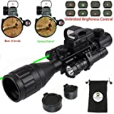 XOPin Rifle Scope Hunting Combo C4-16x50EG Dual Illuminated with Green Laser Sight 4 Holographic Reticle Red/Green Dot for Weaver/Rail Mount (Updated 4-16x50EG Green Laser) (Color: Updated 4-16x50EG Green Laser)