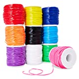 Juvale 10-Pack Plastic Lacing String Cord for DIY Craft Jewelry, 10 Colors, 2.5 x 1mm, 50 Yards Length (Color: Primary and Secondary)