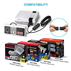 NES Classic Controller Extension Cable 3M/10ft (2-Pack), Bon