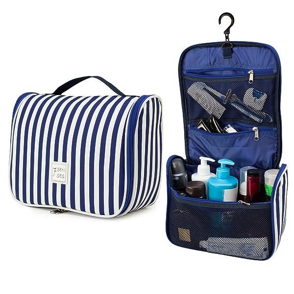 7Senses Hanging Toiletry Bag - Large Capacity Travel Bag for Women and Men - Toiletry Kit, Cosmetic Bag, Makeup Bag - Travel Accessories,Navy Blue (Color: Navy Blue, Tamaño: Large)