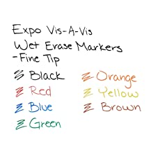 Expo Vis-A-Vis Wet Erase Markers, 4 Colored Markers (16074)