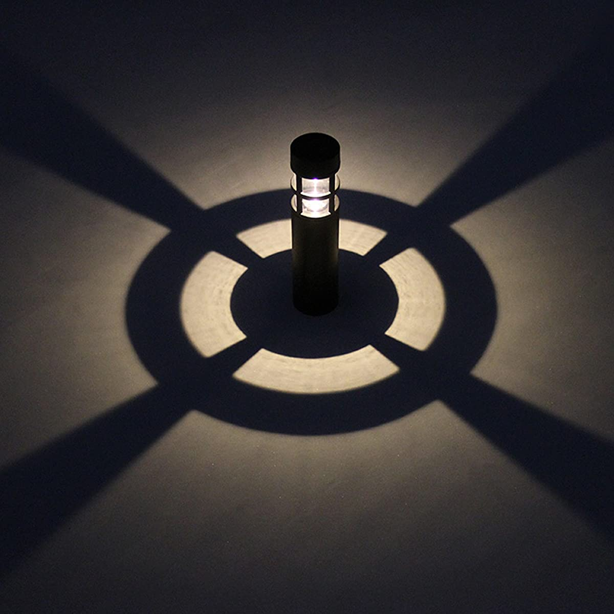 Voona Solar Bollard Lights Outdoor 6-Pack Garden LED Pathway Lights, (Black)