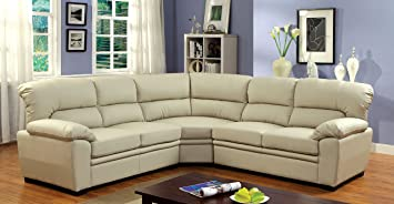 Furniture of America Smithy Sectional Sofa, Ivory