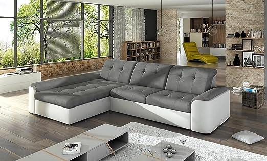 Ecksofa CORTO MINI mit Schlaffunktion Sofa Couch Schlafsofa Polsterecke Bettfunktion (ottomane links, kunstleder weiß / stoff MALMO 95)