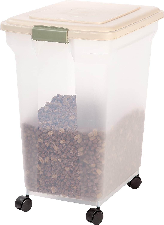IRIS Premium Airtight Pet Food Storage Container, Almond