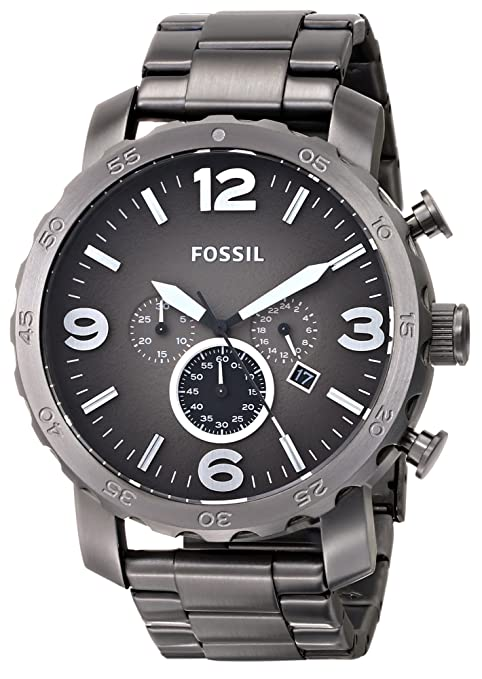 Fossil-Men-s-JR1437-Nate-Chronograph-Smoke-Stainless-Steel-Watch