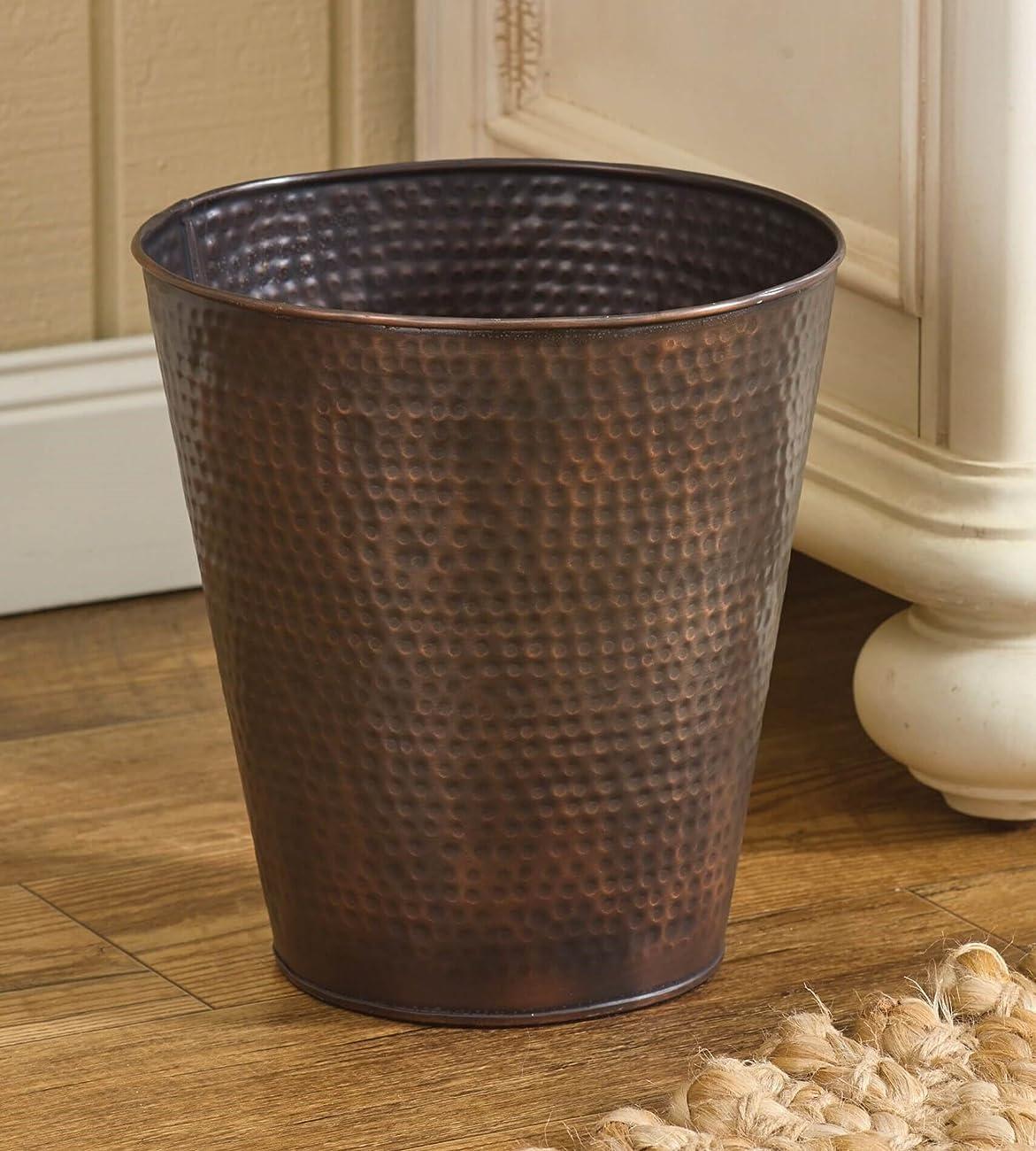 Hammered Copper Finish Antique Style Waste Basket 0