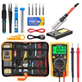 Soldering Iron Kit Electronics, Yome 19-in-1 60w Adjustable Temperature Soldering Iron with ON/OFF Switch, Digital Multimeter, 5pcs Soldering Iron Tips, Desoldering Pump, screwdriver, Tweezers, Stand (Color: Orange)
