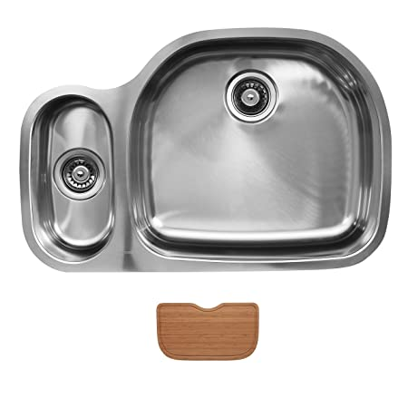 Ukinox D537.80.20.10R.C Modern Undermount Double Bowl Stainless Steel Kitchen Sink with Cutting Board