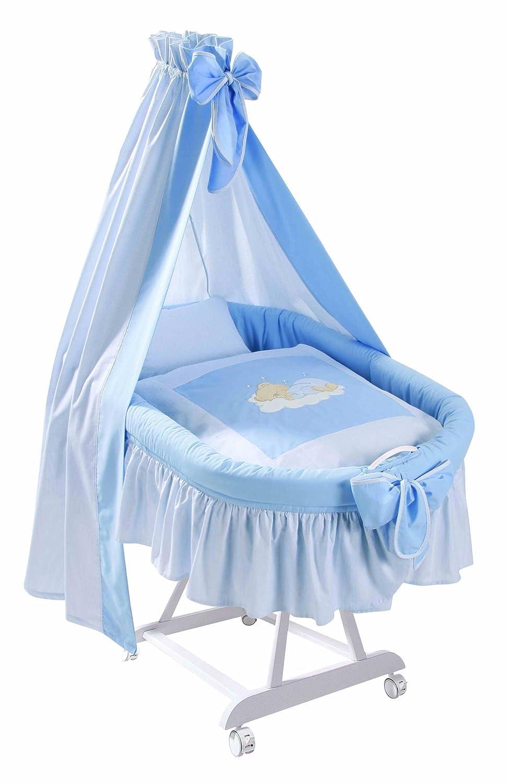 Easy Baby 191-81 Komplettstubenwagen weiß mit Rollen inklusiv Garnierung, Matratze und Himmelhalter, Sleeping Bear blau günstig
