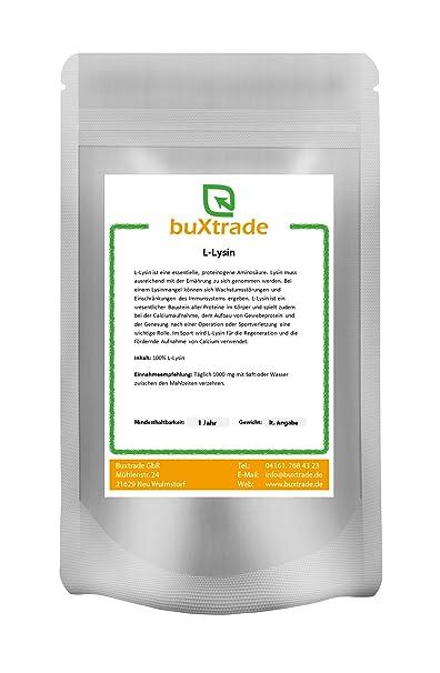 4 x 500 g reines L-Lysin Pulver - Aminosäure Lysin HCL Lysine 100% rein Amino Fitness 2 kg