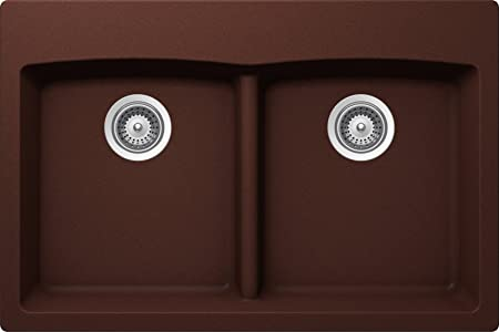 SCHOCK EDON200T009 EDO Series CRISTALITE 50/50 Topmount Double Bowl Kitchen Sink, Copper