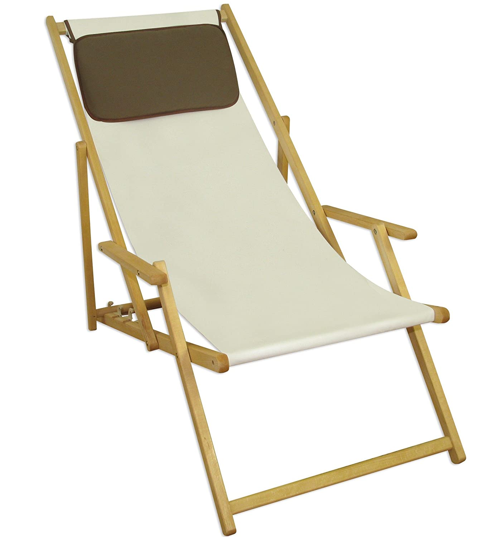 Sonnenliege Gartenliege Deckchair Saunaliege inkl. Kopfstütze Braun