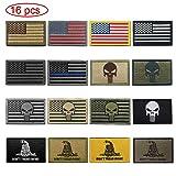 WZT Bundle 16 Pieces American Flag Tactical Military Morale Patch Set (Color: 16 Pcs)
