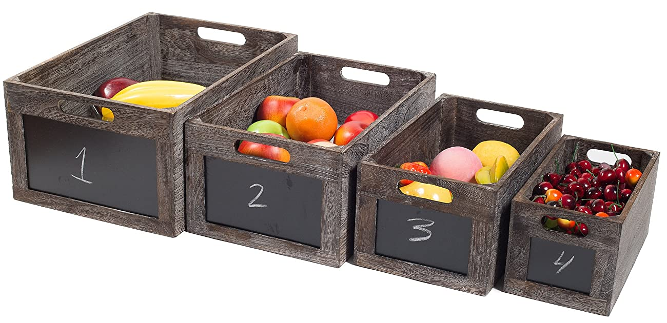 Vintage Style Produce Chalkboard Front Crates Wooden Box - Set of 4 0